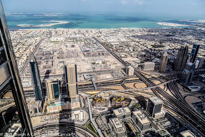 Downtown Dubai & road interchange, looking towards the shoreline