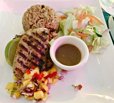 Grilled Mahi-mahi, pigeon pea rice and two salads
