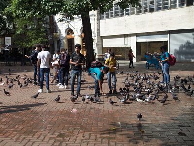 Young people feeding the pigeons on the plaza