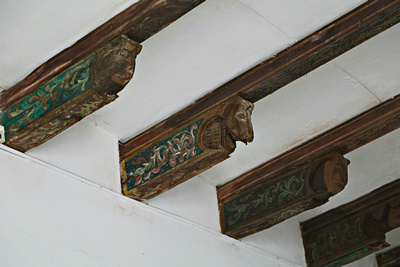 Carved wooden ceiling beams