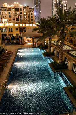 The Manzil Hotel pool at night