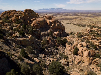 Aerial view looking out over the rock formations to Dragoon Ranch