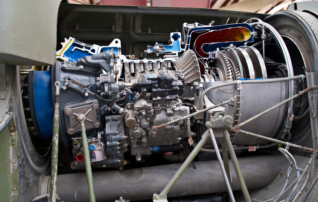 Engine in the Bell UH-1C (UH-1M) Iroquois (Huey)