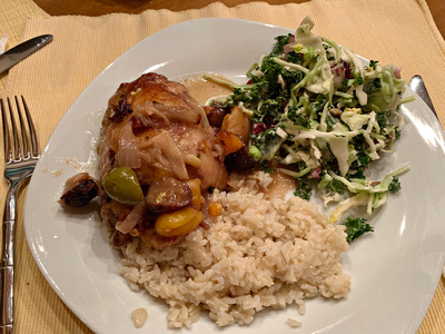 Moroccan Chicken with Kale salad and rice