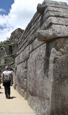 Incan wall showing protrusions for lifting them in place