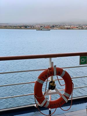 Chilean navy ship between the Zaandam and the dock