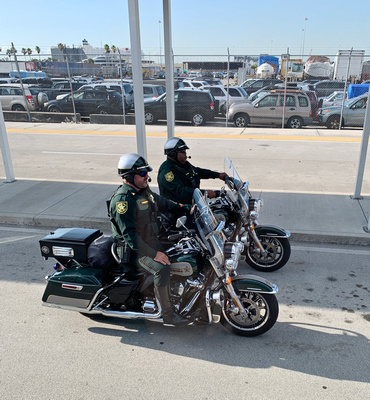 Two sheriffs on their Harleys in our motorcade