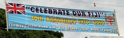 """Celebrate Our Fiji"" 40th Anniversary banner"