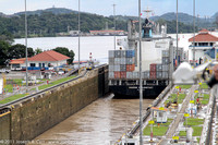 Freighter leaving lock into Miraflores Lake