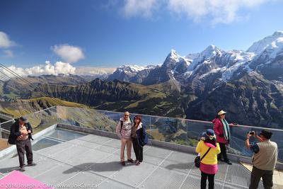 The Skyline Walk platform at Birg with the Eiger, Monch and Jungfrau peaks behind