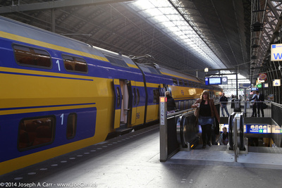 Inter-city train in Haarlem train station