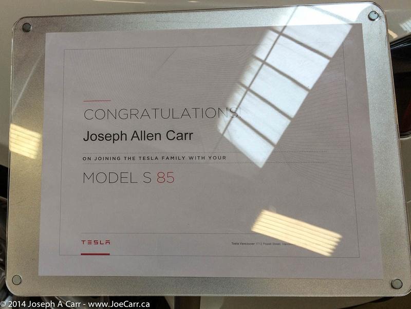 My Tesla Model S delivery plaquard