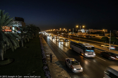 Traffic on Sultan Qaboos Street at night