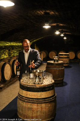 Tasting the first wine - a white burgundy