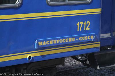 Machupicchu-Cusco sign on train coach