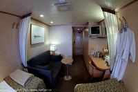 Sofa, desk, beds & hallway in my cabin