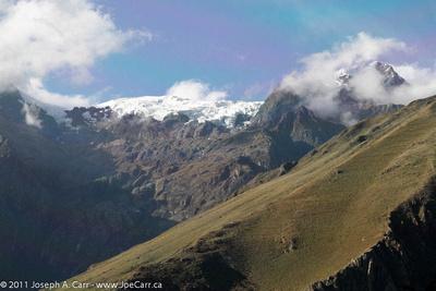 Snowy moutain peaks in the Cordillera Urubamba