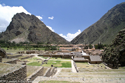 View of Ollantaytambo from part way up the terraces