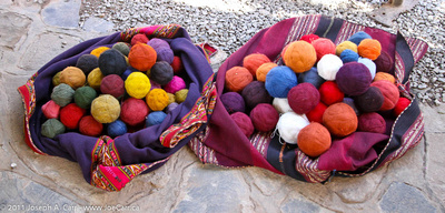 Balls of various coloured wools