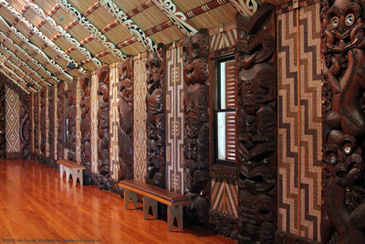 Carvings in interior of Te Whare Runanga Meeting House