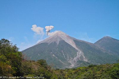 Volcan Fuego emitting smoke