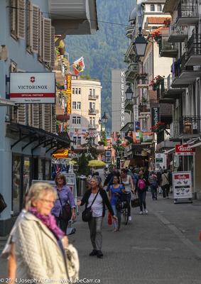 Kay and Lynn on a side street in Interlaken