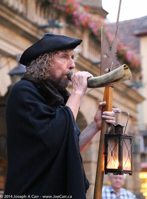 The Night Watchman of Rothenburg blowing his horn