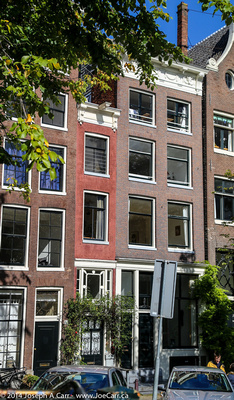Narrowest house in Amsterdam - red brick