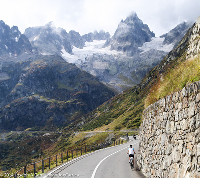 Cyclist on a mountain highway
