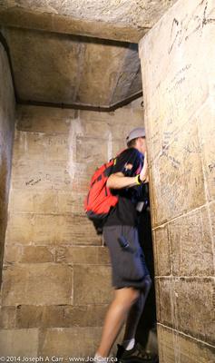 Climbing the narrow stairs