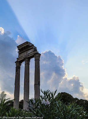 Temple of Saturn with anti-crepuscular rays behind
