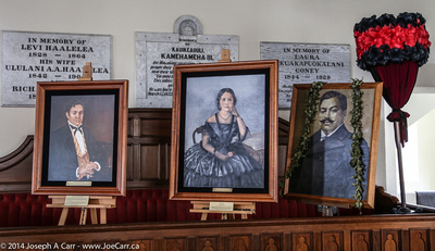 Paintings of Hawaiian royalty nside the church sanctuary