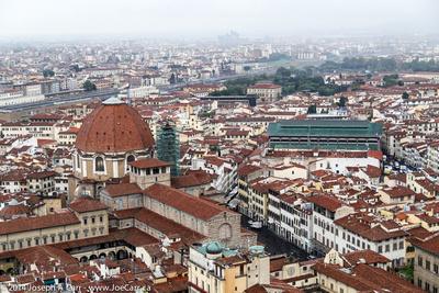Basilica di Santa Maria Novella, the Florence train station & Mercato Centrale from the top of the Duomo
