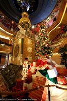 Christmas gifts around the Atrium antique clock