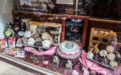 German confections in a bakery window