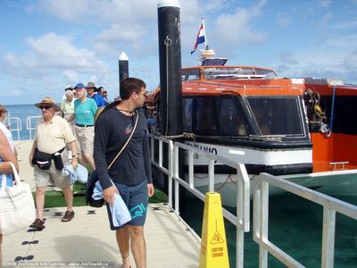 Going ashore on tender dock