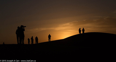 Group on the sand dunes at sunrise