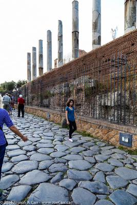 Original cobblestones on the Via Sacra Roman road