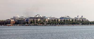 Five cruise ships docked