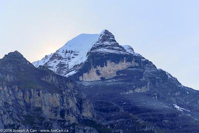 Schwarzmonch rockface of Jungfrau across the valley from Mürren