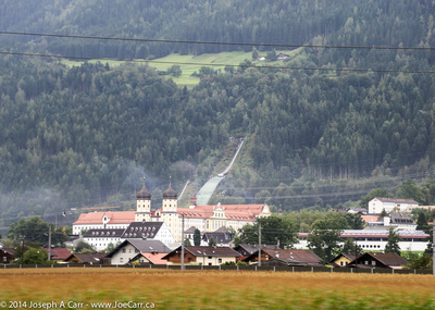Looking across the valley to the Kochlachwald, a hotel and a ski jump?