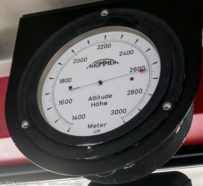 Altitude guage in the gondola indicating correct elevation