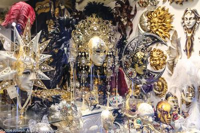 Masks in a shop window