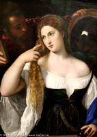 Painting: La Femme au miroir. Vers 1515