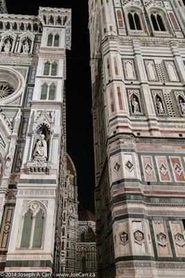 Duomo facade and tower at night