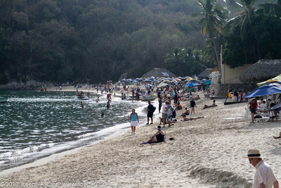 People enjoying the main beach