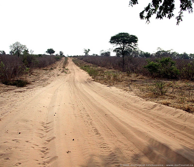The sandy road to Linyanti Camp
