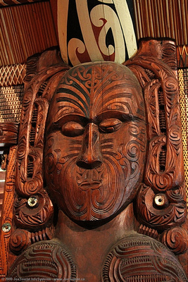 Carving in interior of Te Whare Runanga Meeting House