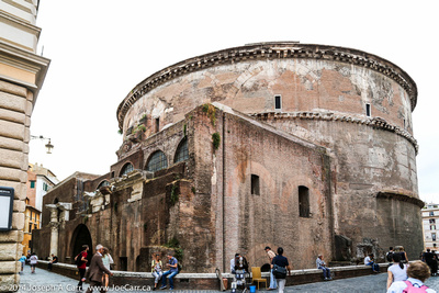 Rear view of the Pantheon where the old Roman wall is located