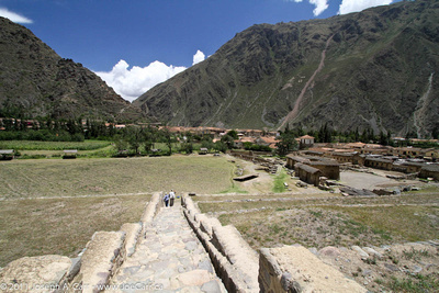 Wendy and Boris decending with agricultural valley and Ollantaytambo below